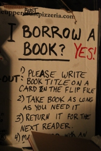Sign telling people to borrow books