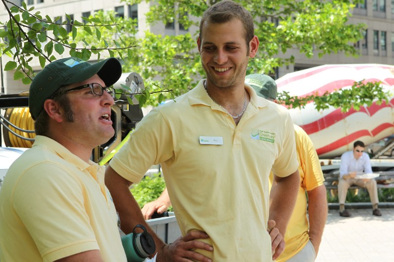 Anthony Ruggiero (speaking) and Eric di Tommaso, Greenway horticulturists
