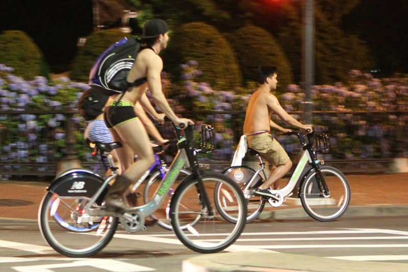 Naked Ride on Hubway bicycles