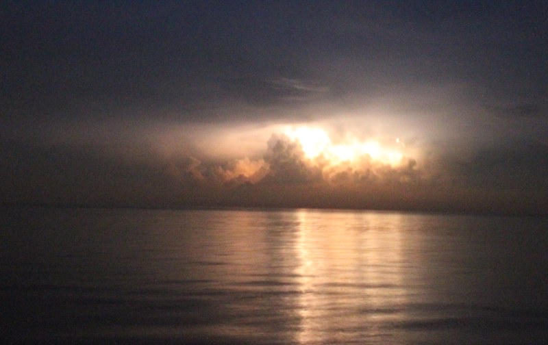 Thunderstorms over the ocean