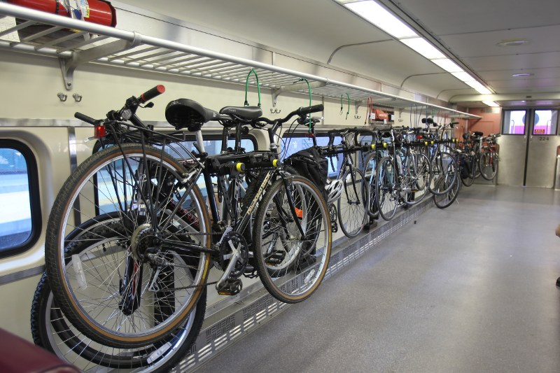 Bike car on Cape Flyer train