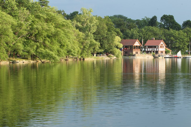Jamaica Pond showing the boathouse, in evening light