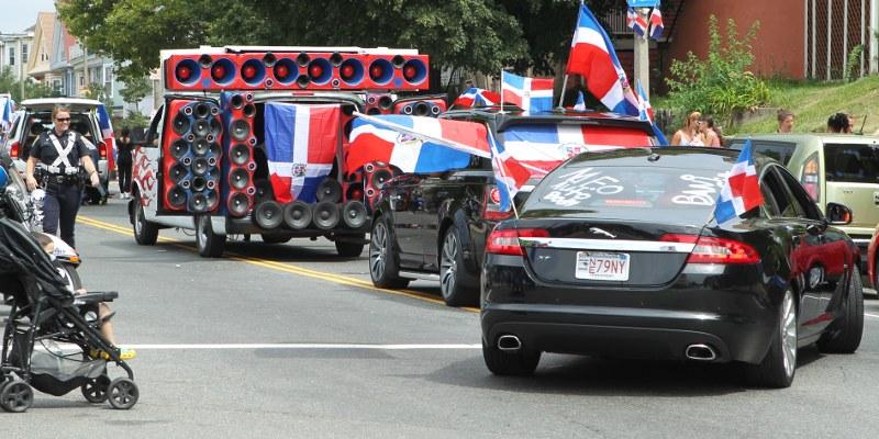 Van covered with speakers