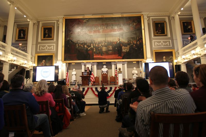 Joyce Linehan, the Mayor's Chief of Policy, speaks in Fanueil Hall at the Boston Bike Update.