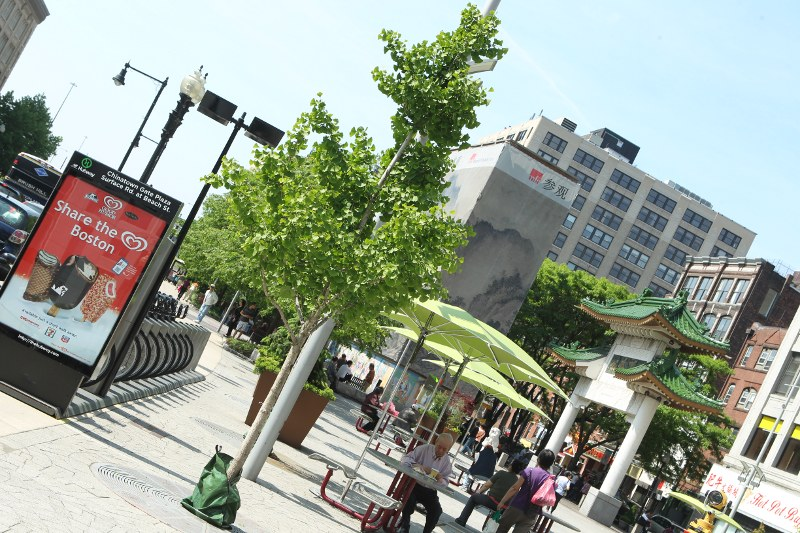 A young ginkgo tree with a Hubway bike station on the left and Chinatown gate on the right