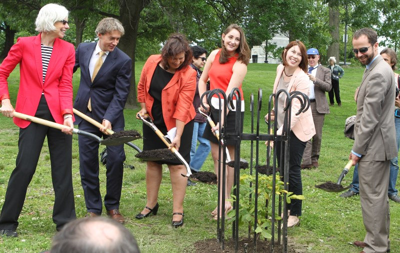 The speakers ceremonially shovel mulch onto the sapling