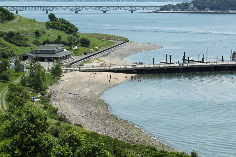 Visitor center and beach on Spectacle Island