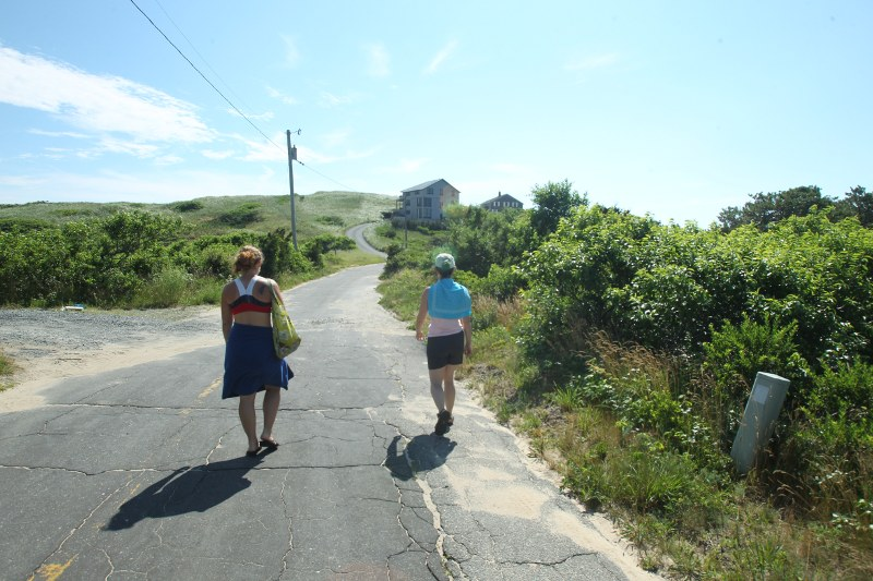 Walking from the hostel to the beach