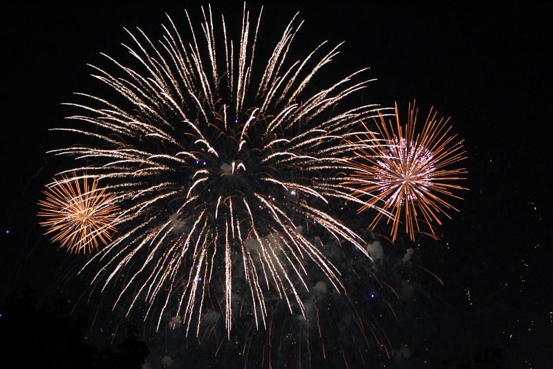 Fireworks explode over the Charles River