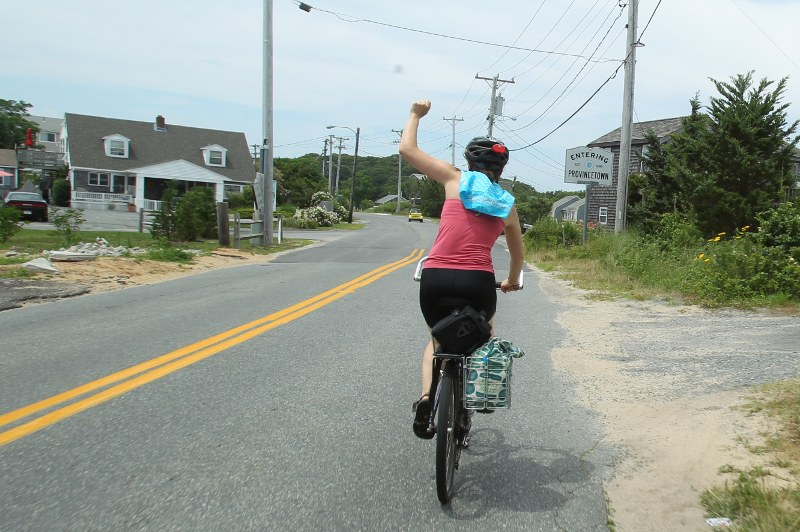 Fists in the air as we celebrate our arrival into Provincetown