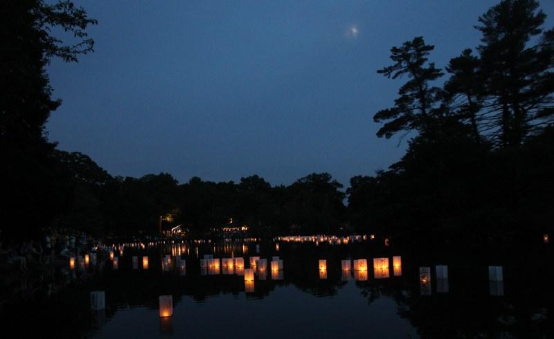 Lanterns on Hibiscus Pond