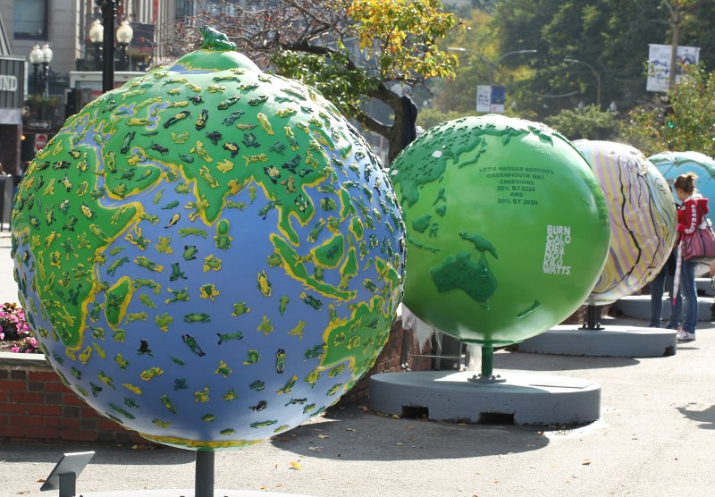 Cool Globes exhibition on Boston Common