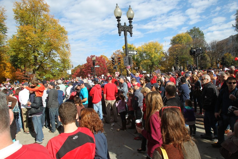 Crowd along the parade route