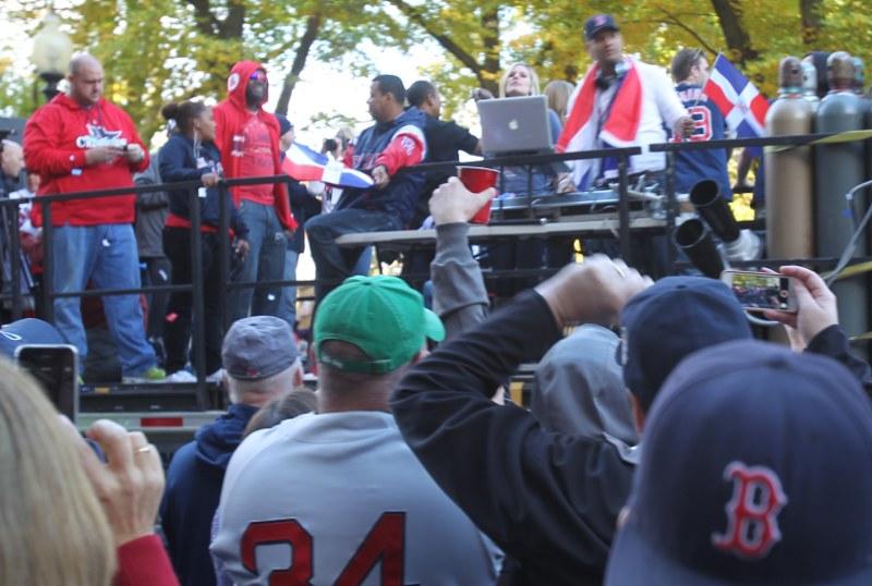 David Ortiz (in red hoodie) in victory parade